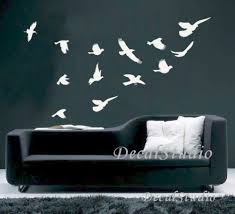 Flying Birds Home Decal Art Graphic Wall Sticker Room Decor White Decalstudio On Artfire
