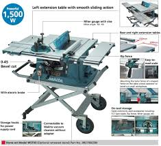 Makita 255mm 10 Table Saw 1500w Mlt100 W Jm27000300 Stand In 2020 Table Saw Makita Extension Table