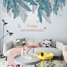 Large Elegant Hand Painted Banana Leaves Wall Decals Living Room Home Decor Tropical Wall Stickers Quotes Mural Couch Background House Thefuns On Artfire