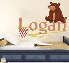 Amazon Com Personalized Name Wall Decal Cute Bear Wall Decal Vinyl Sticker Nursery For Home Bedroom Children Baby