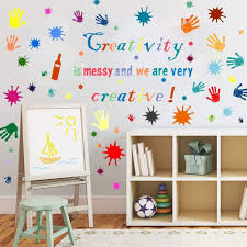 Amazon Com Kids Wall Decals Inspirational Quotes Decor Stickers Creativity Is Messy And We Are Very Creative Wall Positive Sayings For Playroom Art Classroom Kitchen Dining