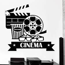 Film Wall Stickers Cinema Vinyl Decal Movie Camera Wall Decor Filming Sticker Screening Room Decoration Popcorn Glasses Wall Stickers Aliexpress