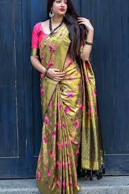 beautiful flower print chennai silk
