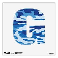 Camouflage Pattern Blue Letter G Wall Sticker Patterns Pattern Special Unique Design Gift Idea Diy Wall Decals Custom Wall Decals Decal Wall Art