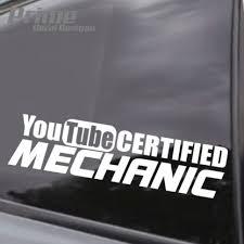 Euro Jdm Youtube Certified Mechanic Vinyl Car Window Wall Decal