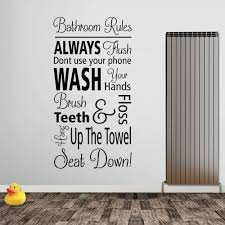 Amazon Com Yilooom Bathroom Rules Wall Decal Bath Text Stickers Art Waterproof Decor New Quote Home Kitchen