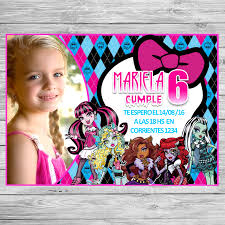 Monster High Kit Imprimible Invitaciones De Cumpleanos Tarjetas