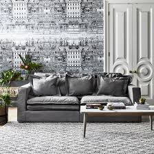 slouch sofa with vintage grey cotton