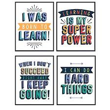 Amazon Com Kids Educational Motivational Wall Art Posters Print Set Unique Decor For Home School Classroom Kids Bedroom Toddler Child Room Library Gift For Teachers Moms Dads 4 8x10 Photos Handmade