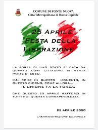 25 APRILE 2020 - FESTA DELLA LIBERAZIONE - Comune di Fonte Nuova ...