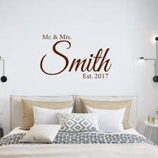 Mr Mrs Custom Family Name Wall Decal And Date Established Wedding Decals Vwaq Cs6