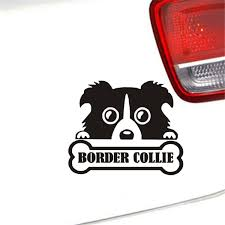 Cute Border Collie Dog Car Stickercool Pet Peeking Dog Car Window Rear Decal