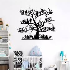 Creative Diy Black Tree Mirror Wall Sticker Removable Pvc People Sticker Self Adhesive Background Wall Decal Wall Stickers Aliexpress