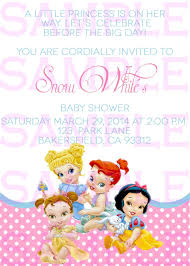 Baby Shower Invitation Princess Disney Babies Girl Announcement