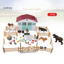 Ey Farm House Building Game Simulation Model Children Kids Diy Fence Stall Play Toy Shopee Philippines