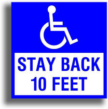 Amazon Com Handicap Square Decal Sticker Stay Back 10 Feet For Wheelchair Disability Lift Van 6 X 6 Inch Not Reflective Automotive