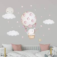 Amazon Com Elephant Nursery Wall Decal Moon Wall Decal Elephant Balloon Wall Decal Nursery Balloon Decor Hot Air Balloon Nursery Elephant Wall Decal Girl Pink Nursery Decal Stars Wall Decal Elephant Sticker Handmade