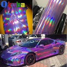 Holographic Chrome Vinyl Car Wrap Purple Laser Rainbow Auto Styling Decal Bubble Free Sticker Film Holographic Chrome Chrome Vinylcar Wrap Aliexpress