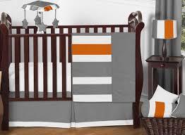 gray and orange stripe baby bedding