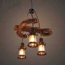 wooden retro rustic pendant light