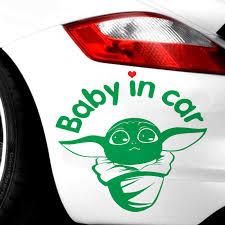 Baby Yoda In Car Baby On Board Kid Inside Star Wars Car Sticker Computer Trunk Waterproof Stickers Car Stickers Aliexpress