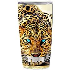 Skin Decal Vinyl Wrap 5 Piece Kit For Yeti 20 Oz Rambler Tumbler Stickers Skins Cover Cup Leopard With Blue Eyes Walmart Com Walmart Com