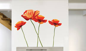 Buy Modern Poppies Wall Stickers Art Applique