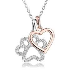 dog paw rose gold heart charm pendant