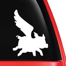 Flying Pig Silhouette Weatherproof Vinyl Decal