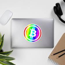 Rainbow Bitcoin Sticker Bitcoin Stickers Crypto Decal Etsy