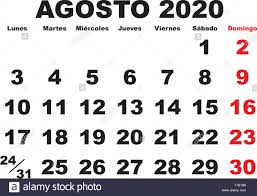 August month in a year 2020 wall calendar in spanish. Agosto 2020 ...