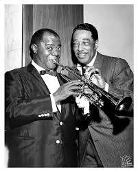 "Louis Armstrong & Duke Ellington by William ""PoPsie"" Randolph — Mr  Musichead Gallery in 2020   Louis armstrong, Duke ellington, Louis"