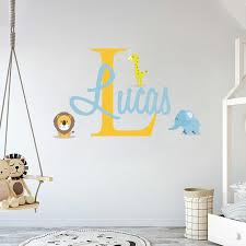 Personalized Name Initial Animal Friends Wall Decal Egraphicstore