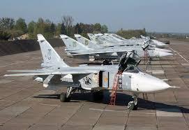 Ukrainian Af Parking Su 24 Fencer Aircraft Fighter Aircraft Su 24 Fencer