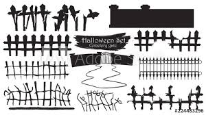 Spooky Cemetery Gate Silhouette Collection Of Halloween Vector Isolated On White Background Scary Haunted And Creepy Fence Element Buy This Stock Vector And Explore Similar Vectors At Adobe Stock Adobe Stock