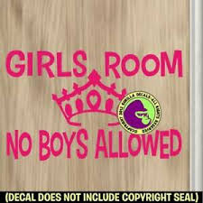 Girls Room No Boys Allowed Vinyl Decal Sticker Princess Bedroom Door Sign Pk Ebay