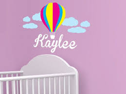 Hot Air Balloon Personalized Name Wall Decal By Walljems 39 99 Kids Room Murals Diy Crib Hot Air Balloon Nursery
