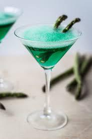 sour apple martini with asparagus foam