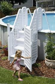 Above Ground Pool With Gates Steps Entry System Above Ground Swimming Pools L Above Ground Pool Landscaping Swimming Pool Ladders Above Ground Pool Decks