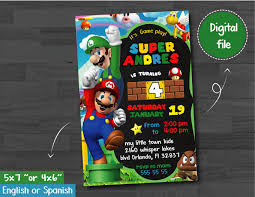 Super Mario Bross Invitation Super Mario Invitation Super Mario
