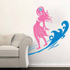 Surfer Chick Wall Decal With Wave Trendy Wall Designs