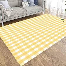 Amazon Com Emmteey 5x7 Farmhouse Area Rug Of Indoor Outdoor Kids Boys Girls Area Rugs Use Gingham Pattern Texture In Pastel Lemon Yellow And White Great Fabric Tea Towels Tablecloths Picnic Napkins Restaurants
