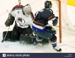 Vancouver Canucks Brendan Morrison scores on visiting Colorado Avalanche  goalie David Aebischer during the second period of a NHL game at  Vancouver's GM Place, November 30, 2005. (UPI Photo/Heinz Ruckemann Stock  Photo -