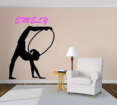 Amazon Com Gymnastics Wall Decal Personalized Gymnast Wall Sticker Gymnastics Decor Girls Room Decor Dancing Girl Ballerina Kids Decor Art And Stick Wall Decals Home Kitchen
