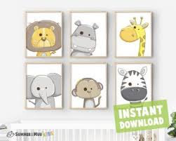 Set Of 6 Safari Animals Print Kids Room Printable Wall Decor