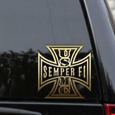 Usmc Semper Fi Decal Sticker Iron Cross Marines Veteran Car Truck Laptop Window Ebay