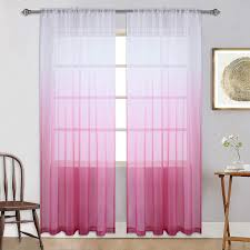Amazon Com Pink Sheer Curtains For Little Girls Kids Room Bedroom Ombre Gradient Window Panel For Princess Teenage Daughter Closet Sheer Backdrop Curtain Drape For Wedding Party Decoration 84 Inch Pink And White Home