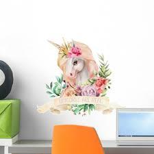 Cute Floral Watercolor Unicorn Wall Decal Wallmonkeys Com