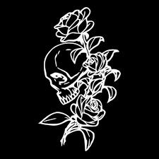 Vova 11 1 19 3cm Romantic Roses Skull Car Stickers Cartoon Motorcycle Vinyl Decals Black Silver
