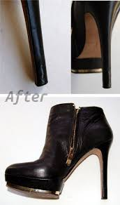 worn heel with a leather repair kit